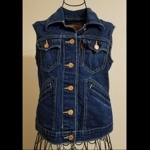 Levi Strauss Dark Wash Denim Jean Vest Jacket
